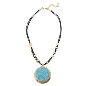 ROBERT LEE MORRIS leather turquoise necklace